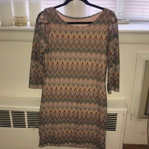 Missoni-style 3/4 sleeve mini dress